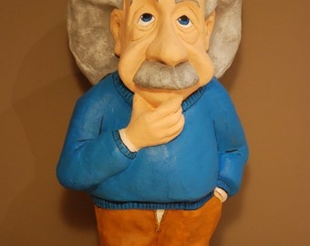 Albert Einstein Sculpture, Handmade figurine, paper mache