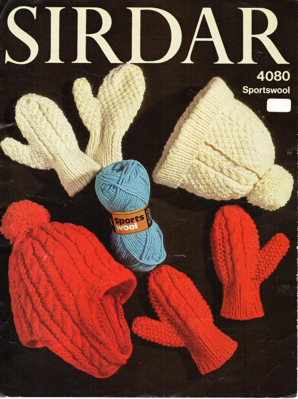 Knitting Patterns Childrens Hats Mittens : childs childrens aran hats mittens knitting pattern pdf aran