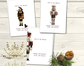 PERSONALISED CHRISTMAS CARD pack, Xmas card, christmas card with a Nutcracker design, simple, elegant  - Pack of 6 cards