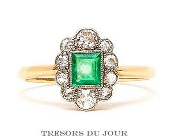 Edwardian Engagement Ring 'Tuileries' Emerald Engagement Ring Art Deco Engagement Ring EMERALD Diamond Halo Engagement RING rose gold white
