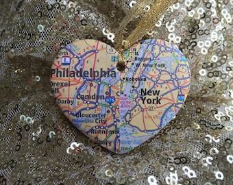 Long Distance Love Map Ornament