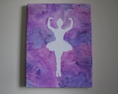 Ballet Dancer Silhouette Melted Crayon Art - Purple - *Custom Order* Canvas Art, Wall Art, Girl's Room Art, Teen Room Art