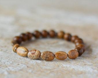 FREE SHIP Yoga bracelet beaded bracelet gemstone bracelet jasper bracelet bracelet gemstone jewelry handmade stone bracelet gift for her