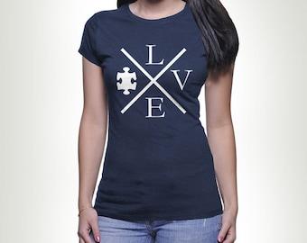 LOVE Autism Puzzle Piece T-shirt Tshirt Tee shirt Tee Autistic Support Educate Advocate Love Autism Awareness Month April Spectrum MB546