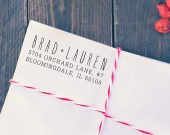 Self Inking Address Stamp, Rustic, Custom Wedding Stamp, Personalized Return Address Stamp, H108