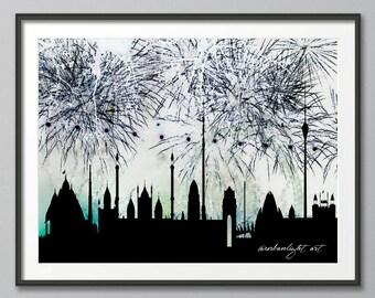 Skyline, Silhouette, Cityscape, Art Print,  Painting, New Delhi Skyline, India New Delhi Sykline, Fireworks, Prints, Wall Art, Watercolor