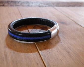 Women's Thin Blue Line Leather Bracelet - Law Enforcement