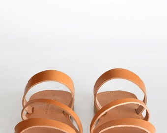 KEA, Sandals, Leather sandals with three straps, Greek sandals