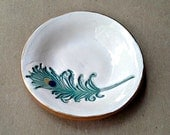 Small Ceramic Peacock feather Ring Bowl OFF WHITE  gold edged  3  inches round
