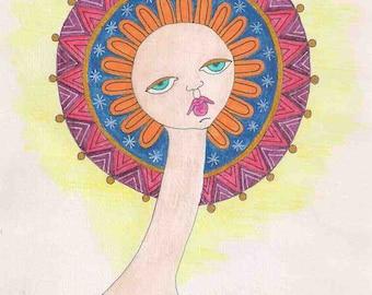 Mandala wall art, Female face wall art, woman wall art, female face art, mandala art, woman art, watercolor painting, woman face drawing
