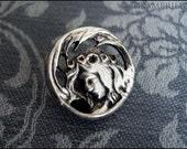 Antique French Art Nouveau Button - Silver Figural Crowned Mystical Lady