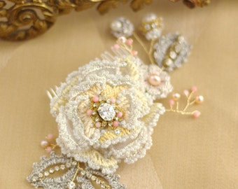 """Yellow + Coral Rose Wedding HeadPiece 