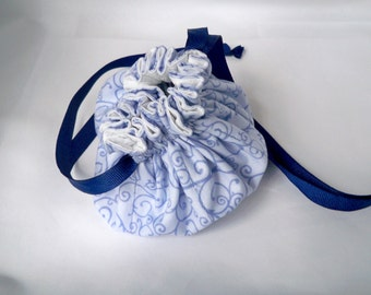 Travel Jewelry Bag, Periwinkle Blue, Fabric Pouch, Indigo Swirl Pattern, Jewelry Bag, Cotton Drawstring, Bridesmaid Gift, Flower Girl Pouch