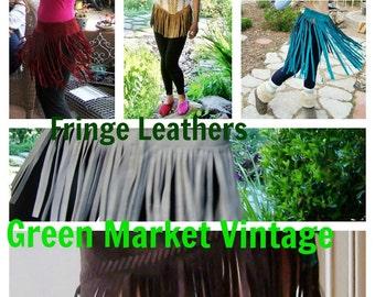 Fringe Leather skirt,  Black Fringe skirt, Leather fringe skirt, Boho fringe skirt, Tribal Fringe skirt, size M