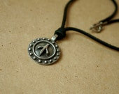 Black Leather Necklace with Pewter Pendant Toggle Clasp