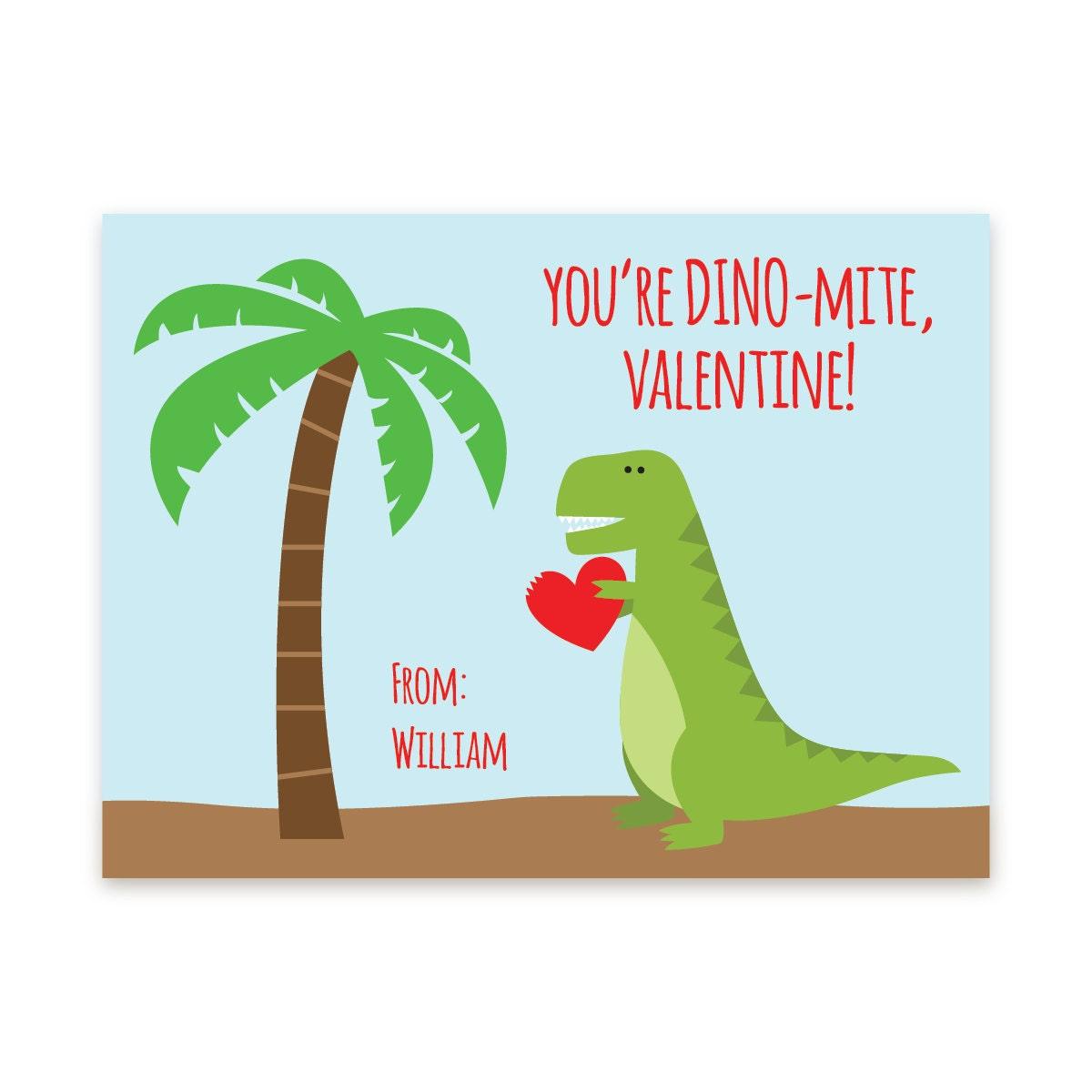 PRINTABLE Dinosaur Valentine Card Dinosaur By Nickwilljack
