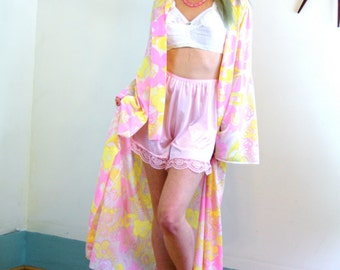 Vintage 1960s Psychedelic Neon Floral Robe by CHOURBAGY Bright Pink Yellow Orange Flowers Dressing Gown House Coat 1960s MAD MEN Loungewear