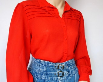 Vintage Red Blouse Pleated Front Blouse 1980's Women's Red Poet Shirt Long Sleeved Semi-Sheer Crepe Size 14