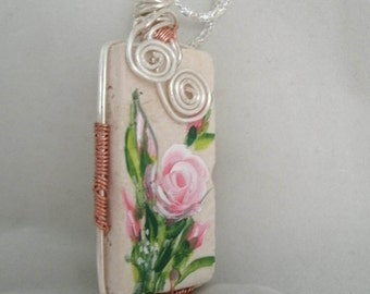 Handpainted Rose Necklace on Stone Tile Pendant Necklace Silver and Copper wire wrapped pendant
