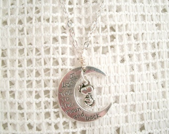 Snoopy Love you to the Moon Necklace pendant with wire wrapped bail and Dangling Snoopy Charm