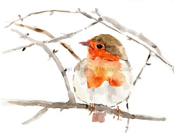 Robin art Print, robin watercolor print, Robin on a branch print, nursery decor, Robin watercolor, Birds art, holiday art, wildlife art