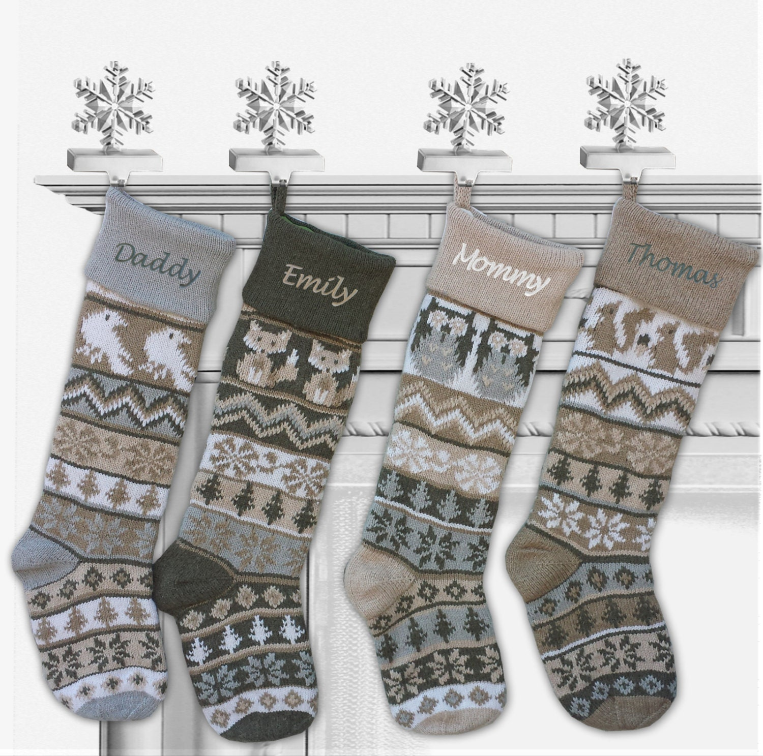 knitted christmas stockings personalized knit large 28 white by 29133