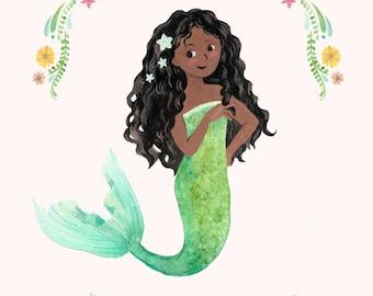 Black Mermaid - CUSTOM NAME - African American Mermaid Print - Personalized Little Black Mermaid Illustration Print