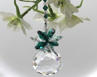 Pineapple Suncatcher mw Swarovski® Crystal, Emerald Sweet Heart 30mm Clear MOZART Ball Sun Catcher Ornament, Pearl Place N More