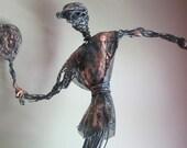 Large Brutalist Wire Sculpture - Statue of Tennis Player - 1977 Puerto Rico Metal Art