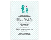 Coastal Seaside Party - Bride Shower - Bridal - Baby Invitations - Seahorse Mom and Seahorse Baby