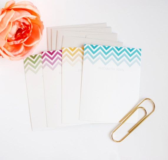 Personalized Stationery - Chevron Stripe Personalized Stationery - Personalized Gift - Flat Note Cards - Set of 12 Note Cards