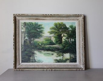 Large French Vintage Oil Painting Depicting River and French Countryside Scene