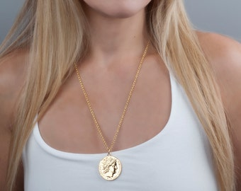 Gold Coin Necklace, Ancient Coin Replica Necklace, Gold Necklace, Long Everyday Necklace, Roman Jewelry, Large Coin Pendant, Coin Jewelry
