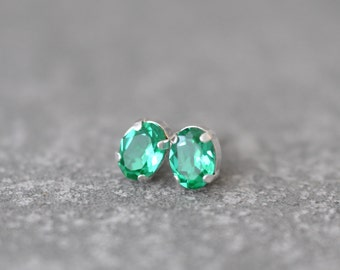 Mint Green Stud Earrings Swarovski Crystal 8mm Oval Petite Studs Super Sparklers Small RARE Vintage Icy Minty Earrings Mashugana