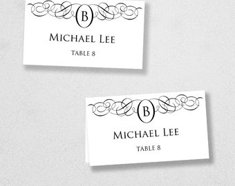 Printable Place Card Template - INSTANT DOWNLOAD - Escort Card - For Word and Pages - Mac and PC - Flat or Folded - Monogram Design