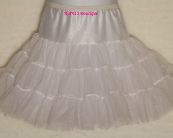 PETTICOAT ~ Tea Length  / Nylon / White / Bouffant / Flower Girl / Wedding / Halter Dress / Twirl / Baby / Girl / Toddler / Custom
