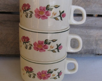 Lozapenco Stackable Coffee Cups, Set of THREE, Vintage Mugs, Coffee Mugs, Made in Chile, Vintage Dinnerware, Pink Floral Cups MyVintageTable
