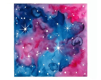Original Abstract Watercolor Painting Galaxy Space