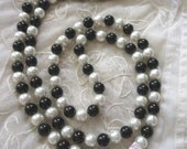 """Long Pearl Necklace 1920's Style Black and White Original Japan Tag Old Stock Never Worn Beads 48"""" Long flapper accessories Downtown Abbey"""