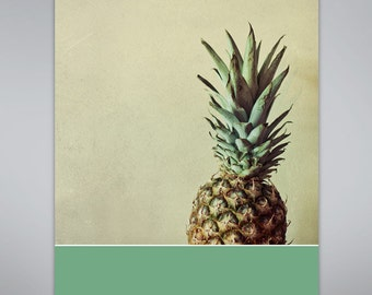 Pineapple photo with teal green geometric color pop. Food photography, Kitchen decor, fruit art.