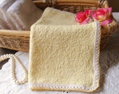 Yellow Wash Cloth with Hand Crocheted Edge, Terry Cloth Wash Cloth