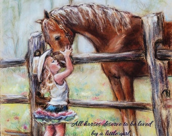 "Personalized Children's Art, girl and horse ""Cowgirl Whispers""  add Names, quote and hair-color, Customart Print, Laurie Shanholtzer"