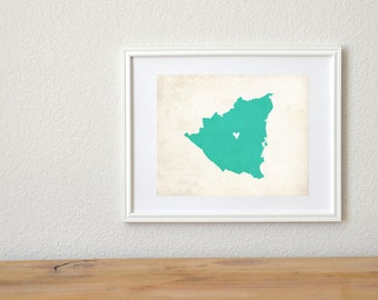 Nicaragua Rustic Country Map. Personalized Nicaragua Art. Personalized Country Map. Wedding Gift. Honeymoon Gift. 8x10 Art Print.