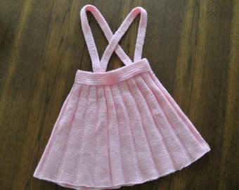 Vintage pink knit jumper / handknit jumper with suspenders / Girl's size 4 to 6