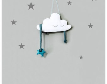 CLOUD shaped pillow with blue star, baby room dècor, baby shower gift, nursery room decor, wall hangings, home dècor, cloud, 16'' (41cm)