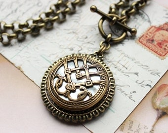 Antique Button Necklace Pendant large, EXCELLENT QUALITY, Intricate Metal Work & Mother of Pearl c.1880, Antique Button Jewelry by veryDonna