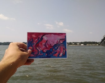 P61 - Pink and Blue, Art Postcard, Surreal Postcards, Abstract Stationery