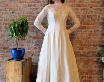 High Neck Wedding Dress - Long Sleeve - Train -Lace - Beads - Off White - Gored panels - Off White - Cream - A Line - Champagne