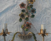 Vintage French , Wall Sconce ,  Wallight, Candelabra ,Tole Handpainted ,Shabby Chateau ,Chic French ,French Country Candelabra