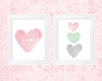 Pink Mint and Gray Nursery Decor, Set of 2 - 11x14 Watercolor Prints, Pink, Mint and Gray Nursery Art, Pastel Nursery, Watercolor Nursery